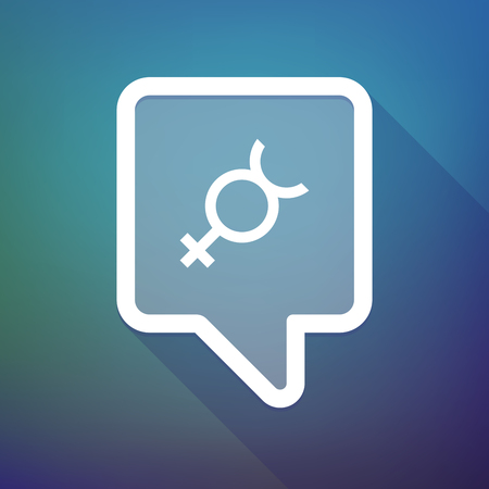 Hermaphrodite: Illustration of a long shadow tooltip icon on a gradient background  with  the mercury planet symbol Illustration