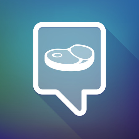 Illustration of a long shadow tooltip icon on a gradient background  with  a steak icon