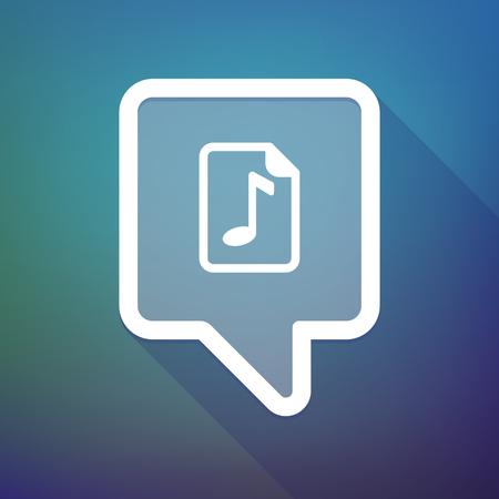 partition musique: Illustration d'une infobulle ic�ne longue ombre sur un fond d�grad� avec une ic�ne de partition