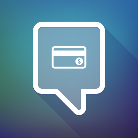 tooltip: Illustration of a long shadow tooltip icon on a gradient background  with  a dataphone icon