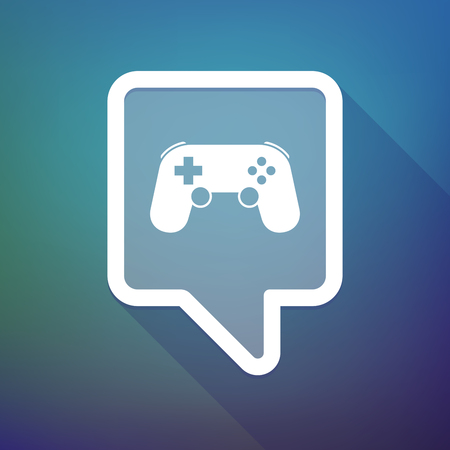 game pad: Illustration of a long shadow tooltip icon on a gradient background  with  a game pad