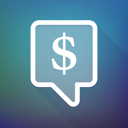 tooltip: Illustration of a long shadow tooltip icon on a gradient background  with a dollar sign