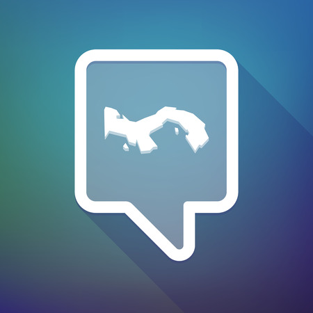 search box: Illustration of a long shadow tooltip icon on a gradient background  with  the Panama map Illustration