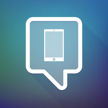 tooltip: Illustration of a long shadow tooltip icon on a gradient background  with a smart phone