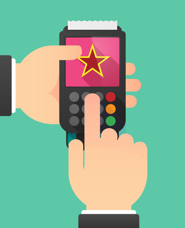 communism: Illustration of a person hands using a dataphone with  the red star of communism icon Illustration