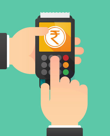 indian people: Illustration of a person hands using a dataphone with  a rupee coin icon