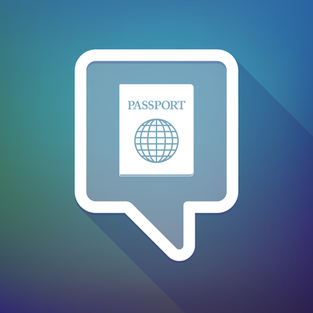 tooltip: Illustration of a long shadow tooltip icon on a gradient background  with  a passport Illustration