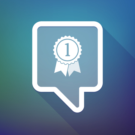 tooltip: Illustration of a long shadow tooltip icon on a gradient background  with  a ribbon award