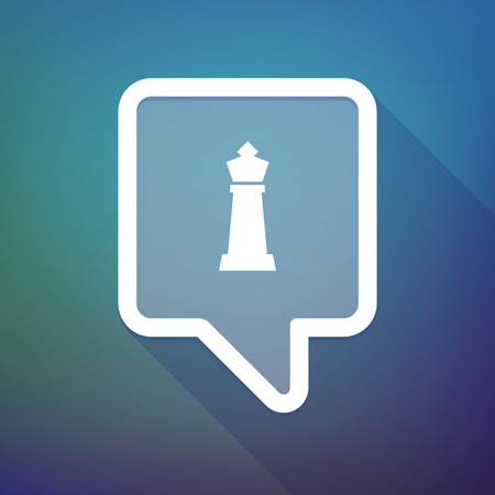 tooltip: Illustration of a long shadow tooltip icon on a gradient background  with a  king   chess figure