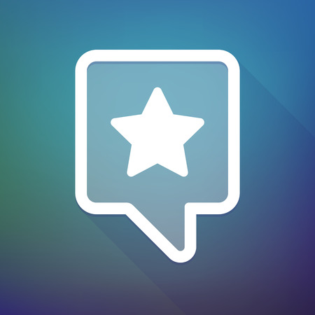 tooltip: Illustration of a long shadow tooltip icon on a gradient background  with a star