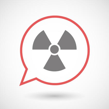 radioactivity: Illistration of an isolated line art comic balloon with a radio activity sign