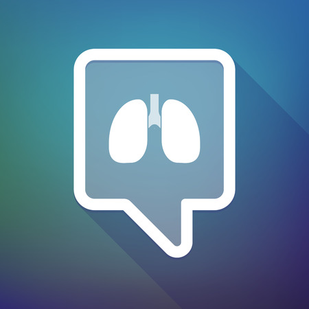 tooltip: Illustration of a long shadow tooltip icon on a gradient background  with  a healthy human lung icon