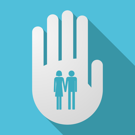 heterosexual: Illustration of a long shadow hand with a heterosexual couple pictogram