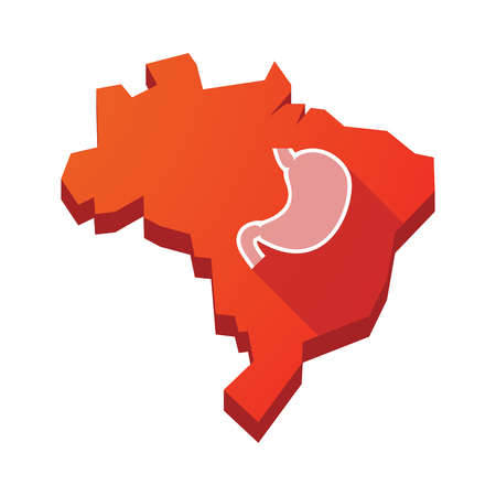 digestion: Illustration of an isolated vector Brazil map with  a healthy human stomach icon