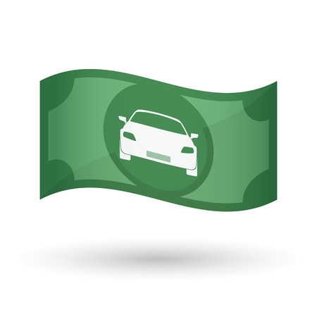 car bills: Illustration of an isolated waving bank note with a car