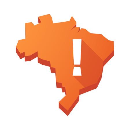 fascinação: Ilustração de um mapa de Brasil isolado vector com um sinal de admiração