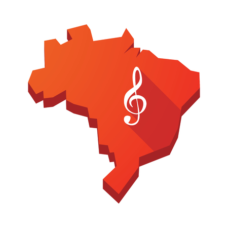 g clef: Illustration of an isolated vector Brazil map with a g clef Illustration