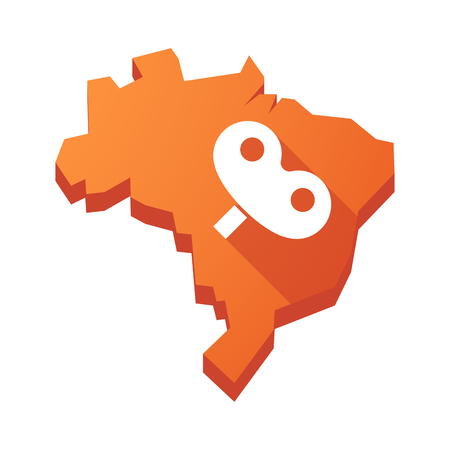 crank: Illustration of an isolated vector Brazil map with a toy crank