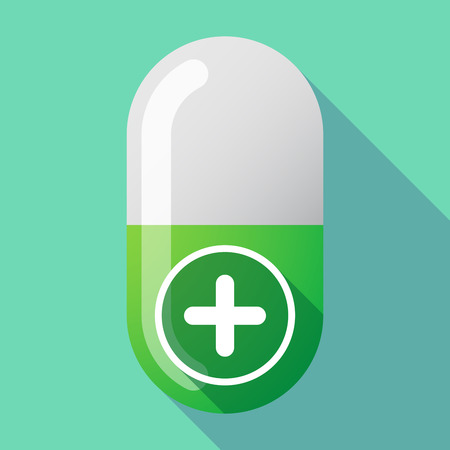 subtract: Illustration of a long shadow vector pill with a sum sign Illustration