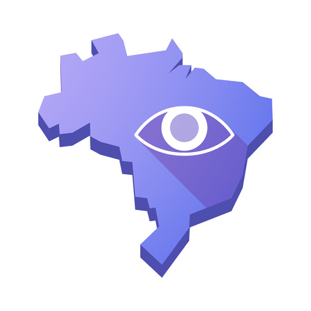 Illustration of an isolated vector Brazil map with an eye Vetores