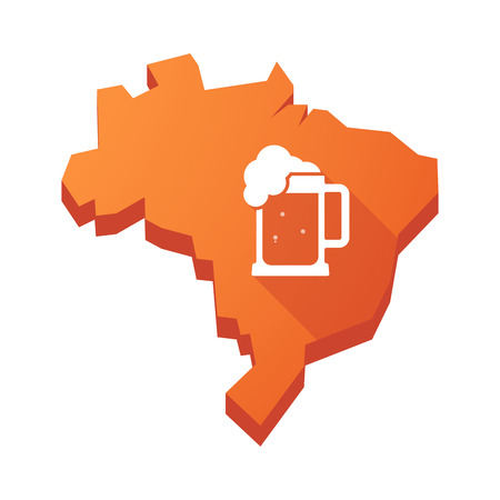 beer jar: Illustration of an isolated vector Brazil map with  a beer jar icon