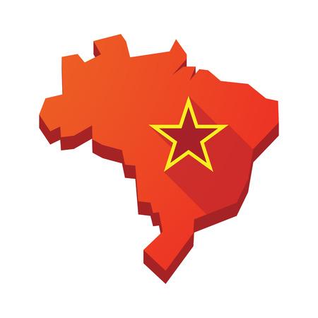 communism: Illustration of an isolated vector Brazil map with  the red star of communism icon Illustration