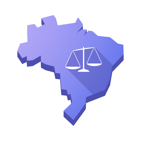 tribunal: Illustration of an isolated vector Brazil map with  an unbalanced weight scale Illustration