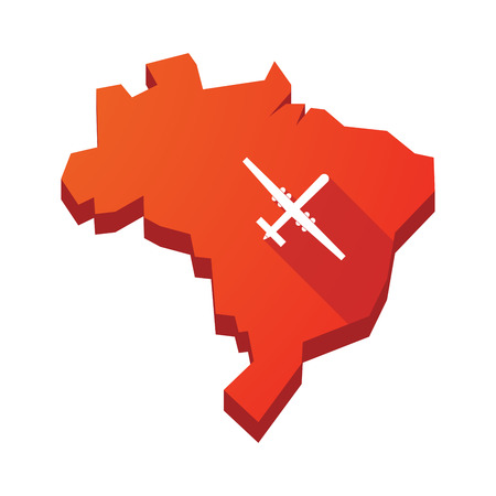 warfare: Illustration of an isolated vector Brazil map with a war drone