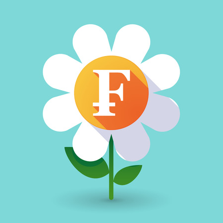 franc: Illustration of a  vector flower with a swiss franc sign Illustration