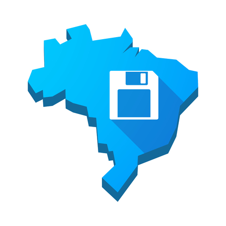 floppy drive: Illustration of an isolated vector Brazil map with a floppy disk Illustration
