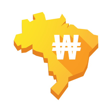 won: Illustration of an isolated vector Brazil map with a won currency sign