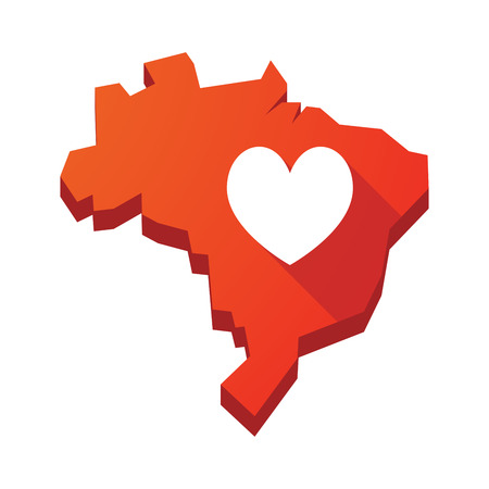 playing card: Illustration of an isolated vector Brazil map with  the heart poker playing card sign Illustration