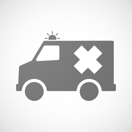 irritant: Illustration of an isolated ambulance icon with an irritating substance sign