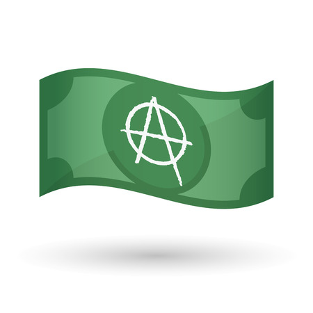 anarchist: Illustration of an isolated waving bank note with an anarchy sign