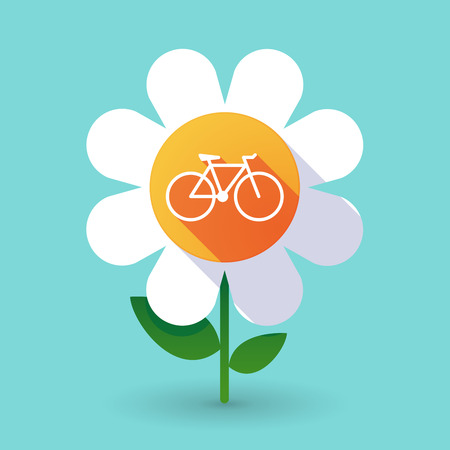 daisy wheel: Illustration of a  vector flower with a bicycle