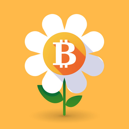 p2p: Illustration of a  vector flower with a bit coin sign Illustration