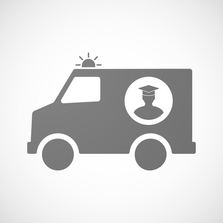 bachelor's: Illustration of an isolated ambulance icon with a student