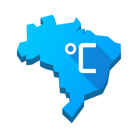 celsius: Illustration of an isolated vector Brazil map with  a celsius degree sign Illustration