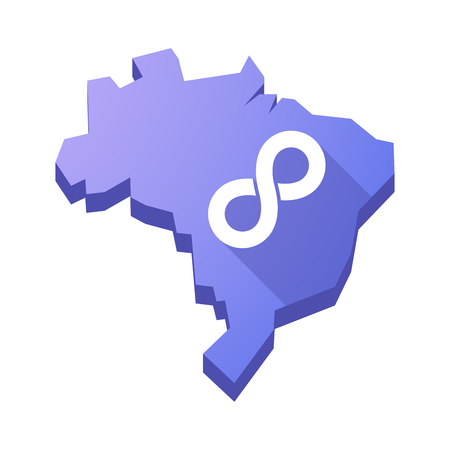 mobius symbol: Illustration of an isolated vector Brazil map with an infinite sign