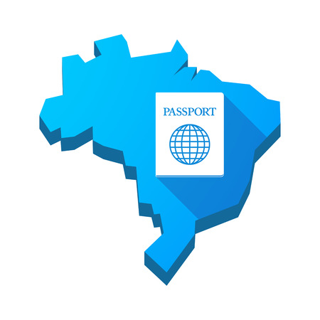 emigration: Illustration of an isolated vector Brazil map with  a passport Illustration
