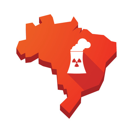 nuclear power station: Illustration of an isolated vector Brazil map with a nuclear power station
