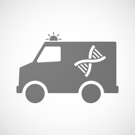 Illustration of an isolated ambulance icon with a DNA sign Illustration