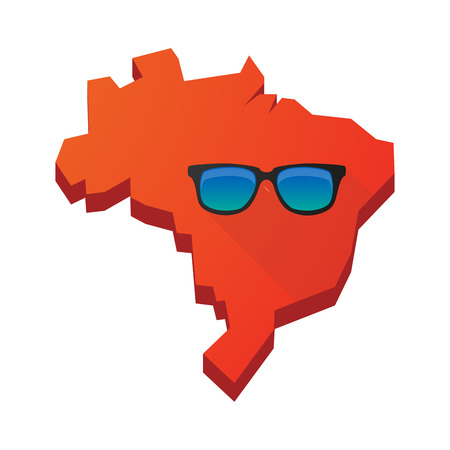 Illustration of an isolated vector Brazil map with a sunglasses icon