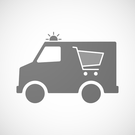emergency cart: Illustration of an isolated ambulance icon with a shopping cart