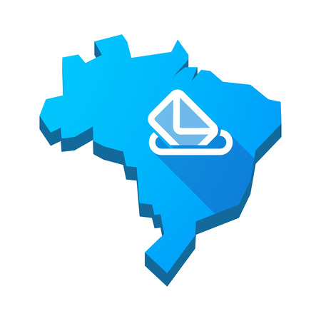 polls: Illustration of an isolated vector Brazil map with  a ballot box Illustration