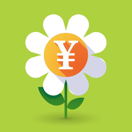 yen sign: Illustration of a  vector flower with a yen sign Illustration