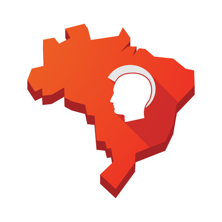 punk hair: Illustration of an isolated vector Brazil map with  a male punk head silhouette