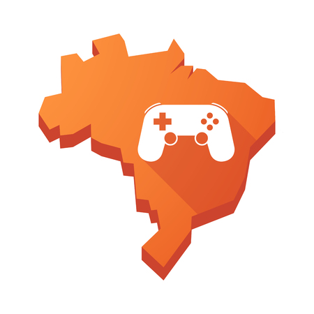 game pad: Illustration of an isolated vector Brazil map with  a game pad Illustration