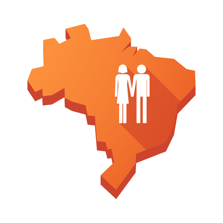 heterosexual: Illustration of an isolated vector Brazil map with a heterosexual couple pictogram Illustration