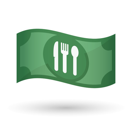 bank note: Illustration of an isolated waving bank note with cutlery